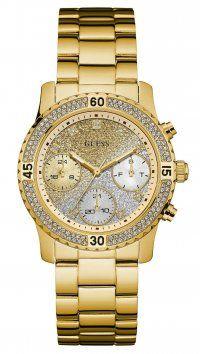 Guess Ρολόι Guess πολλαπλών ενδείξεων με χρυσό μπρασελέ και ζιργκόν W0774L5