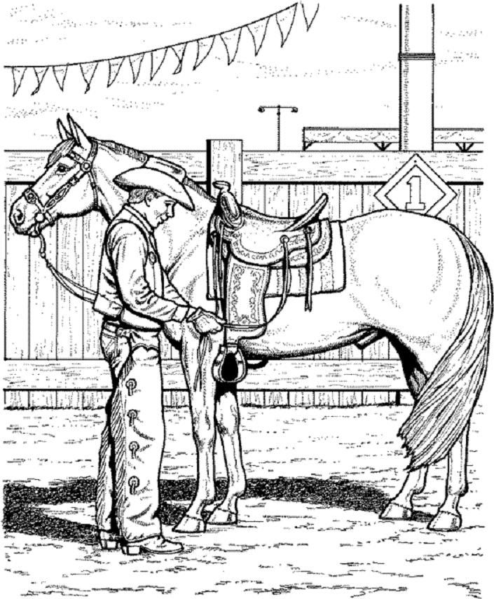horse coloring page of cowboy adjusting saddle
