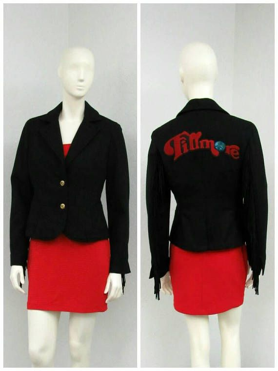 Vintage 90s Fillmore Black Pea Coat Western Jacket Fringed
