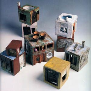"Füreya Koral, ""Neighborhood"", ceramic, 10x10 cm, 1980 (Erdinç Bakla archive)"