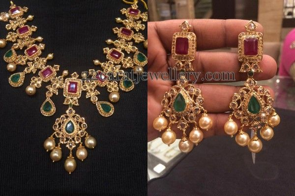 Jewellery Designs: Uncut Diamond Set Earrings
