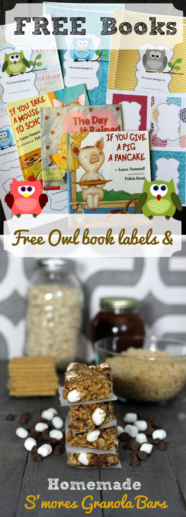 FREE Books Free Owl book labels and Homemade Smores Granola Bars recipe from HappyandBlessedHome.com perfect for teachers, parents and homeschoolers who want beautiful labels and free books for building their personal libraries. Includes homemade no bake S'mores Granola Bars recipe. #Back2SchoolReady #ad #cbias | free printables | free book covers | free book labels