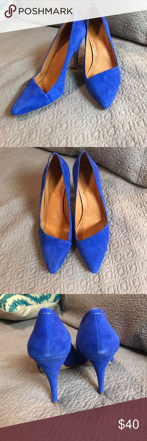 Blue suede shoes Madewell new pointy heel shoes. Blue suede. Rarely worn. Slight rub on back of heels but not super noticeable. Madewell Shoes Heels