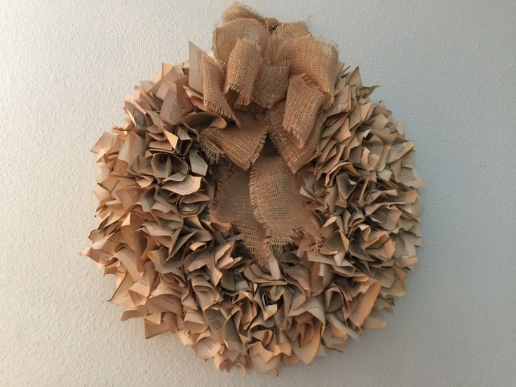DIY luscious wreath made from old book pages