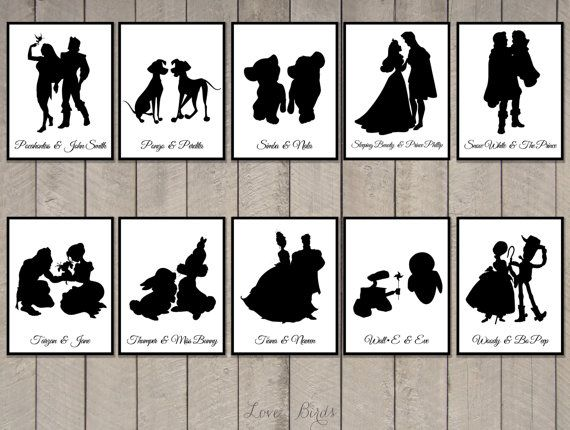 Disney Couple Cards Silhouette tabel cards by SophiesLoveBirds