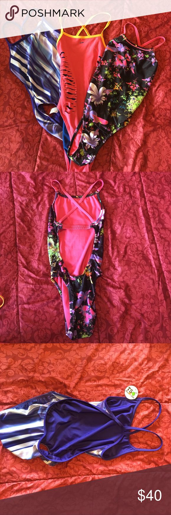 3 practice swimsuits!!! (NWT/NWOT) Selling 3 for $40, 2 for $28, or $15 each. Message me!                      1) black floral speedo (size 28) NWOT.                                      2) NWT TS purple/swirly (size 28).                                             3) pink speedo, open back, with side cut outs-used (size 28/30) Speedo Swim One Pieces