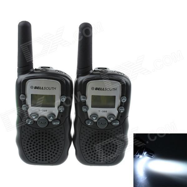 BELLSOUTH T-388 Handheld 409MHz-410MHz 22-CH Walkie Talkie / Interphone - Black (2 PCS / 4 x AAA)