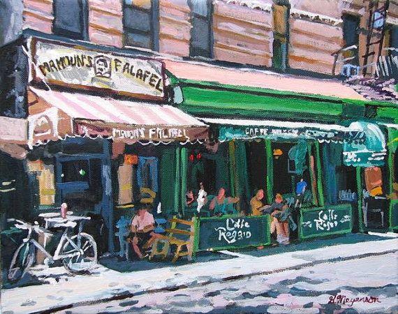 Tela di paesaggio urbano di Cafe Reggio Mamouns Falafel Washington Square MacDougal Street New York NYC arte Cafe vita Greenwich Village
