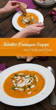 Herbstliche, fruchtige Kürbis-Orangen-Suppe mit Chili, Ingwer und Zimt. Sehr lecker, einfach, günstig und vegetarisch.