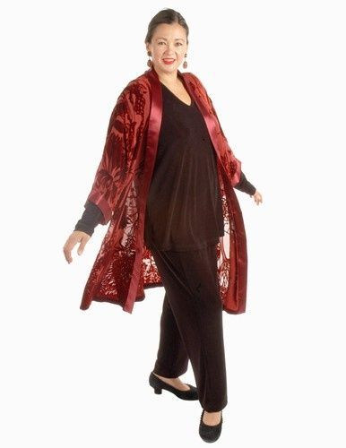 Plus Size Calf Length Kimono Jacket Burgundy Silk Velvet Burnout Mother of the Bride, Special Occasion, Evening wear.