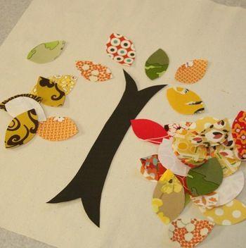 葉っぱのパーツ、幹のパーツを切り出して、ミシンで縫いつけていきます。難しく考えず、形通りに縫えばツリーアップリケの出来上がり。あとはクッションカバーなどお好みのアイテムに仕立てて下さい。
