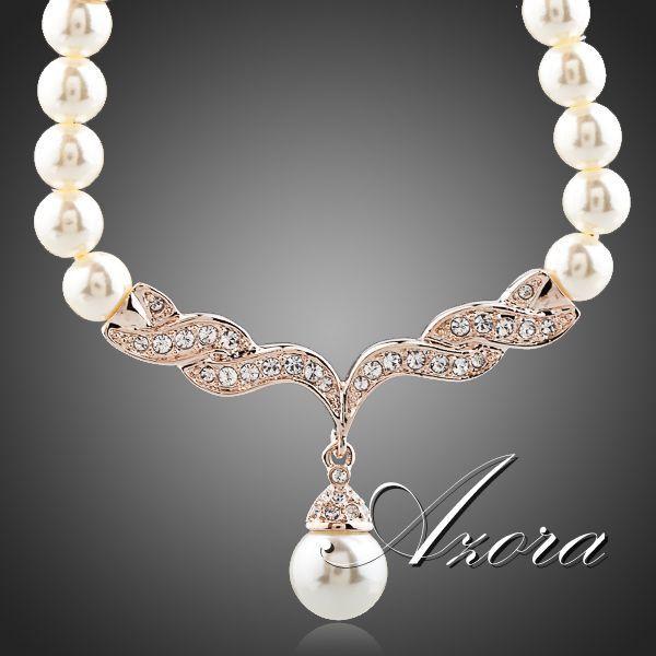 Fashion Imitation Pearl Love 18K Rose Gold Plated SWA ELEMENTS Austrian Crystal…