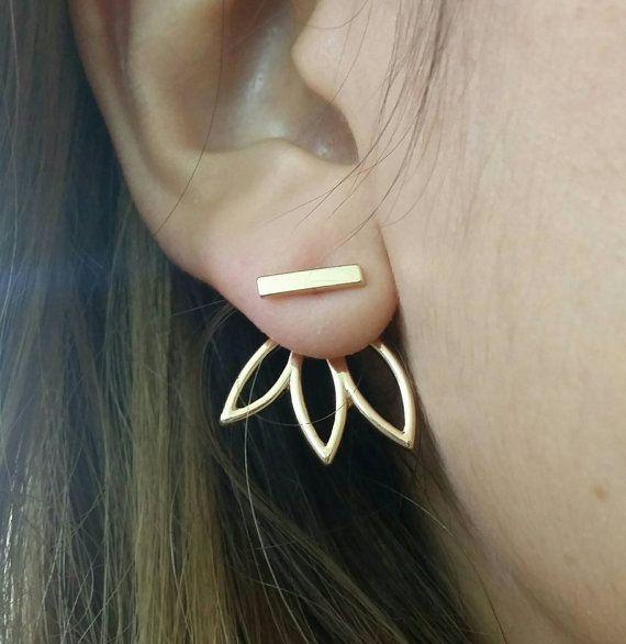 Blume Ohrringe vordere hintere Ohrring Ohr von ShopOrigamiJewels