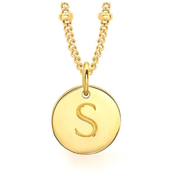 Missoma Women's Initial Charm Necklace - S - Gold (165 CAD) ❤ liked on Polyvore featuring jewelry, necklaces, gold charms, yellow gold initial necklace, gold initial charms, letter charms and gold jewelry