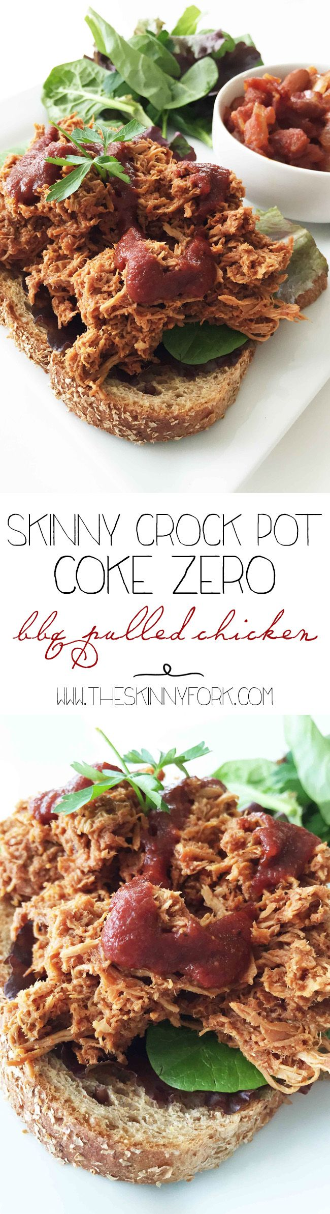 Skinny Crock Pot Coke Zero BBQ Pulled Chicken - A lighter take on a super easy BBQ chicken! #FinalFourPack #Ad