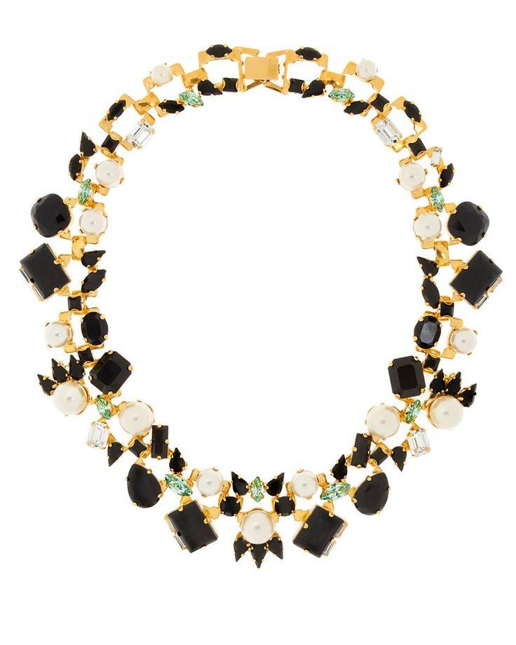 Joyas preciosas:  Gargantilla dorada con cristales y perlas Swarovski, de Erdem
