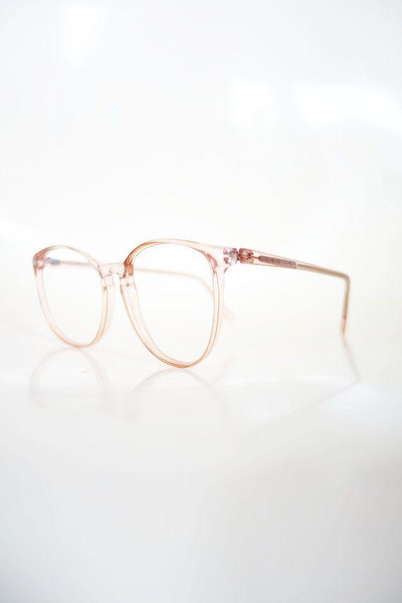 1980s Round Pink Eyeglasses Vintage Pastel Cotton Candy Clear Wayfarer 80s Eighties Glasses Optical Frames Womens Ladies Deadstock NOS
