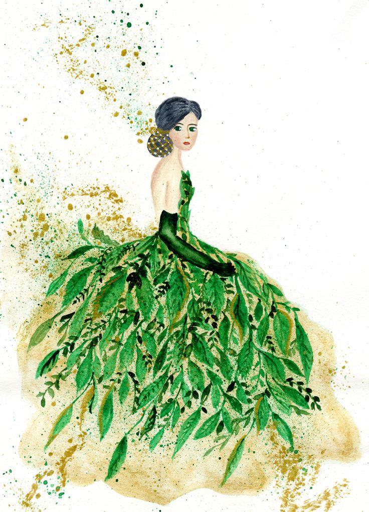 #summer #green #girl #watercolour
