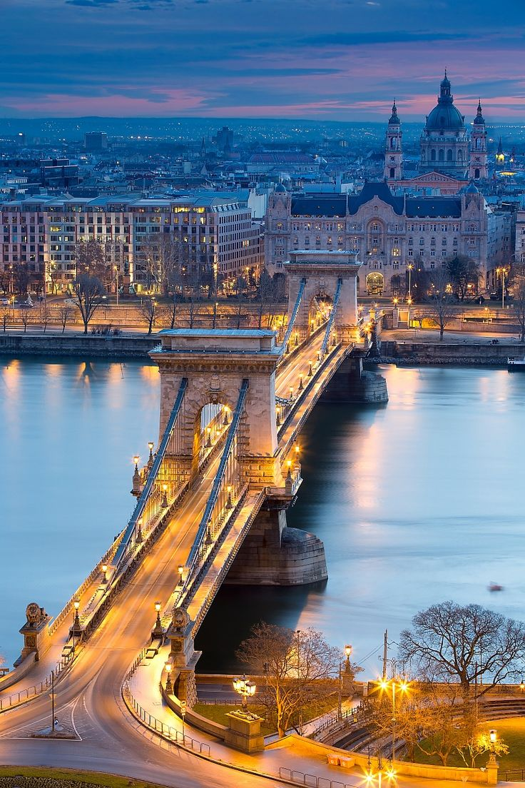 The Chain Bridge - Budapest, Hungary  Charles and I had a balcony room at The Four Seasons  with exact view.  Fabulous city, I never get tired of visiting Budapest.