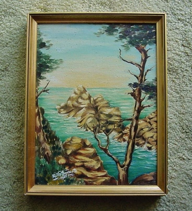 Fine CARMEL Cypress SIGNED Saussotto 1965 PAINTING Ca COAST 17 Mile Drive FRAMED    eBay