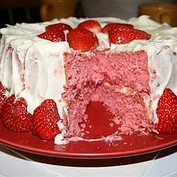 Strawberry Cake...uses strawberry Jello and fresh strawberries...does NOT use boxed cake mix.
