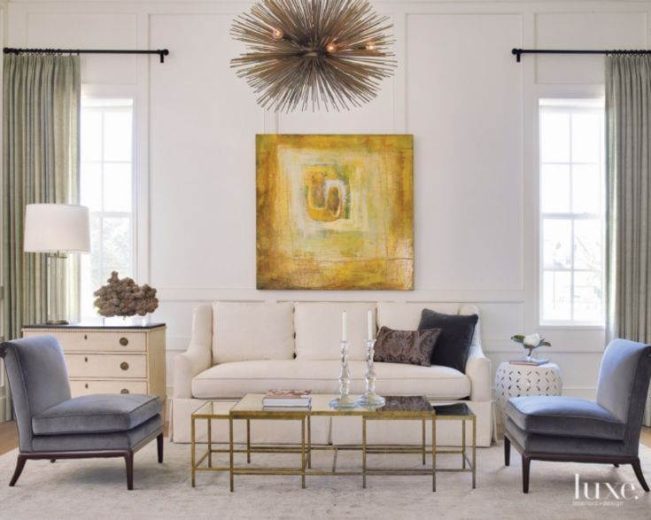 Transitional White Paneled Living Room