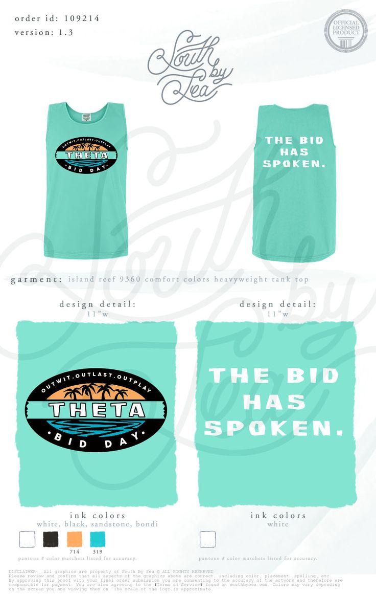 Kappa Alpha Theta | Survivor Theme | Bid Day | The Bid Has Spoken | Recruitment | Sisterhood | South by Sea | Greek Tee Shirts | Greek Tank Tops | Custom Apparel Design | Custom Greek Apparel | Sorority Tee Shirts | Sorority Tanks | Sorority Shirt Designs