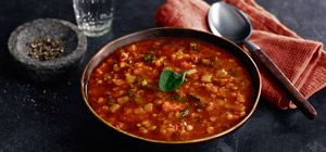 This hearty vegetable soup is lightly spiced and bursting with flavour.