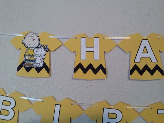 Charlie Brown Birthday Banner Peanuts by NettiesCraftyCorner