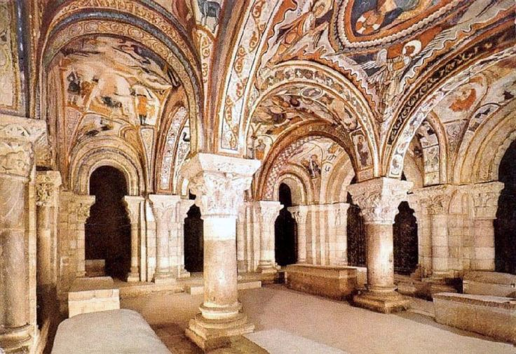 "The Royal Pantheon in the Basilica of San Isidoro in León, Spain. ""This funeral chapel of the kings of León is one of the examples of surviving Romanesque art in León. The columns are crowned with rare Visigothic capitals, with floral or historic designs. The 12th century painted murals are in an exceptional state of preservation and consist of an ensemble of New Testament subjects along with scenes of contemporary rural life."""