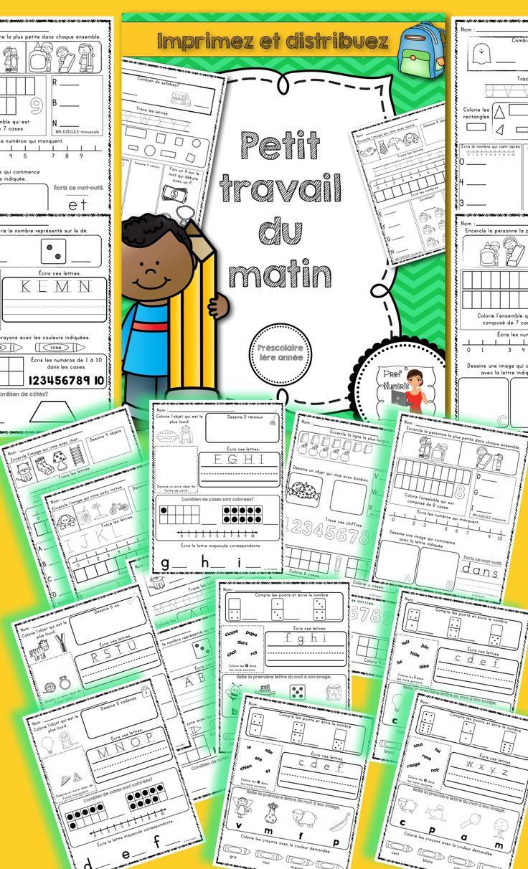20 pages d'activités que vos jeunes élèves du préscolaire, ou début 1ère année, pourront réaliser soit en arrivant en classe le matin, en devoir ou lors des ateliers du mois de septembre.