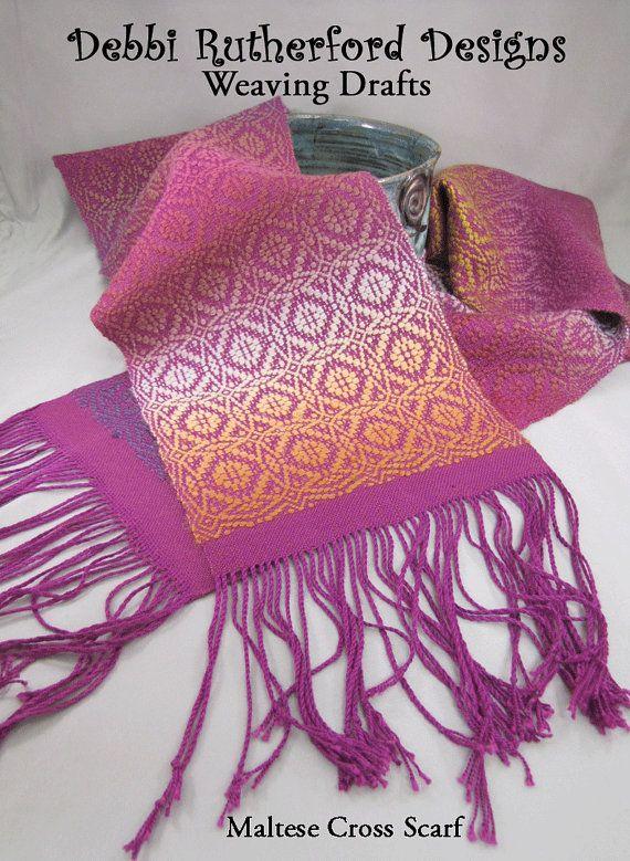 Maltese Cross Overshot Woven Scarf  Weaving Draft by DebbiRYarn, $5.00