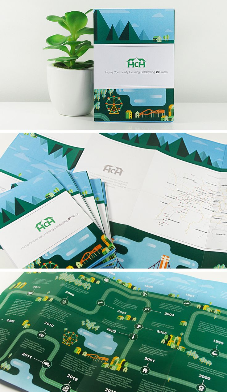Hume Community Housing Celebrating 20 Years illustrated timeline and roadmap brochure. View more > http://ow.ly/HgUls #GraphicDesign #Illustration #EmoceanStudios #Parramatta #DesignStudio #Brochure #PrintDesign #Printing #Design #Timeline #Map #RoadMap