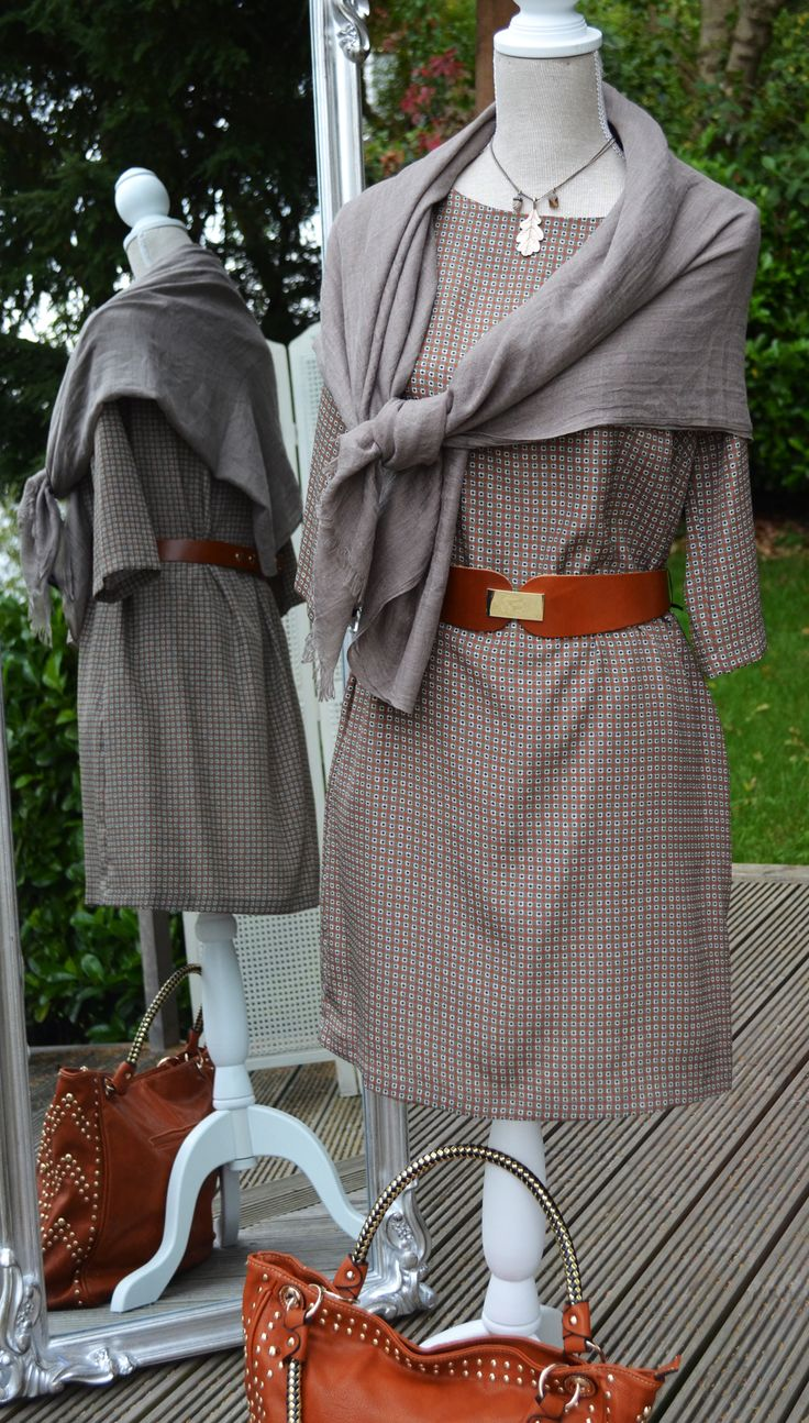 Ottodame Dress £120, Necklace £48.50 Hult Quist, Scarf (cotton wool mix) £20, Sinequanone Belt £85, Real Leather Bag £50,