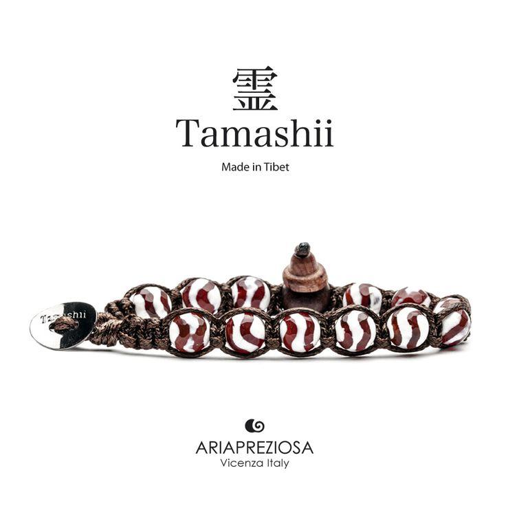 Bracciale originale Tamashii Painted realizzato con pietre naturali CORNIOLA STRIATA dipinta col. BIANCO.
