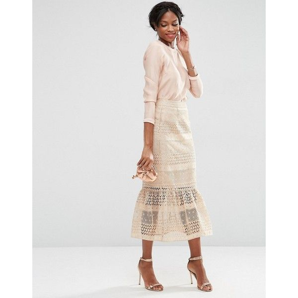 ASOS Geo Lace Midi Pencil Skirt with Pep Hem ($99) ❤ liked on Polyvore featuring skirts, beige, pencil skirts, knee length lace skirt, midi skirt, geometric print skirt and geometric pencil skirt
