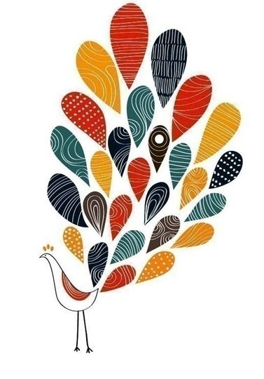 I'd like to draw a peacock and cut out tail feathers in patterned paper. Different colors than those in this piece