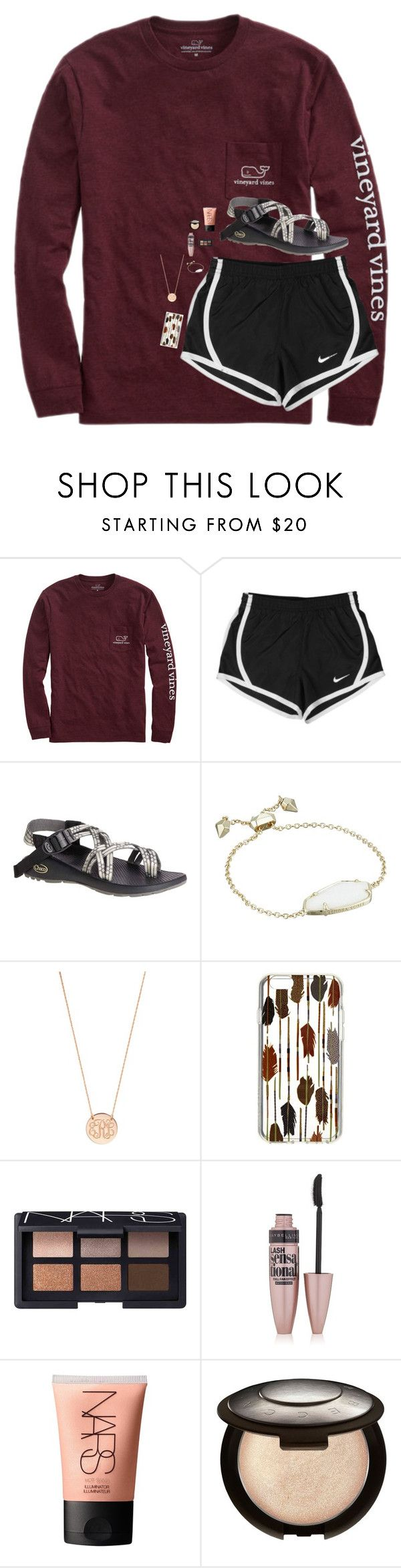 """""""What are y'all being for Halloween? """" by beautygirl480 ❤ liked on Polyvore featuring Vineyard Vines, NIKE, Chaco, Kendra Scott, BaubleBar, Vera Bradley, NARS Cosmetics, Maybelline and Becca"""