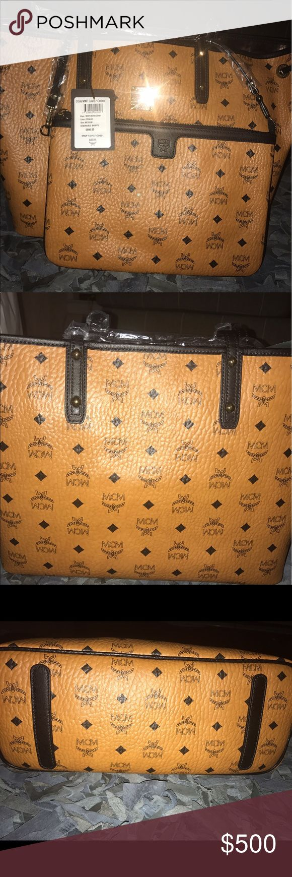 Brand New MCM Cognac Medium Reversible Shopper Brand New unused Authentic MCM Cognac Medium Reversible Shopper with dust bag and original tags MCM Bags Shoulder Bags