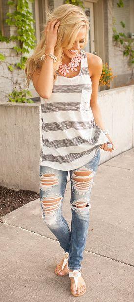 #summer #fashion / casual striped tank top + ripped denim