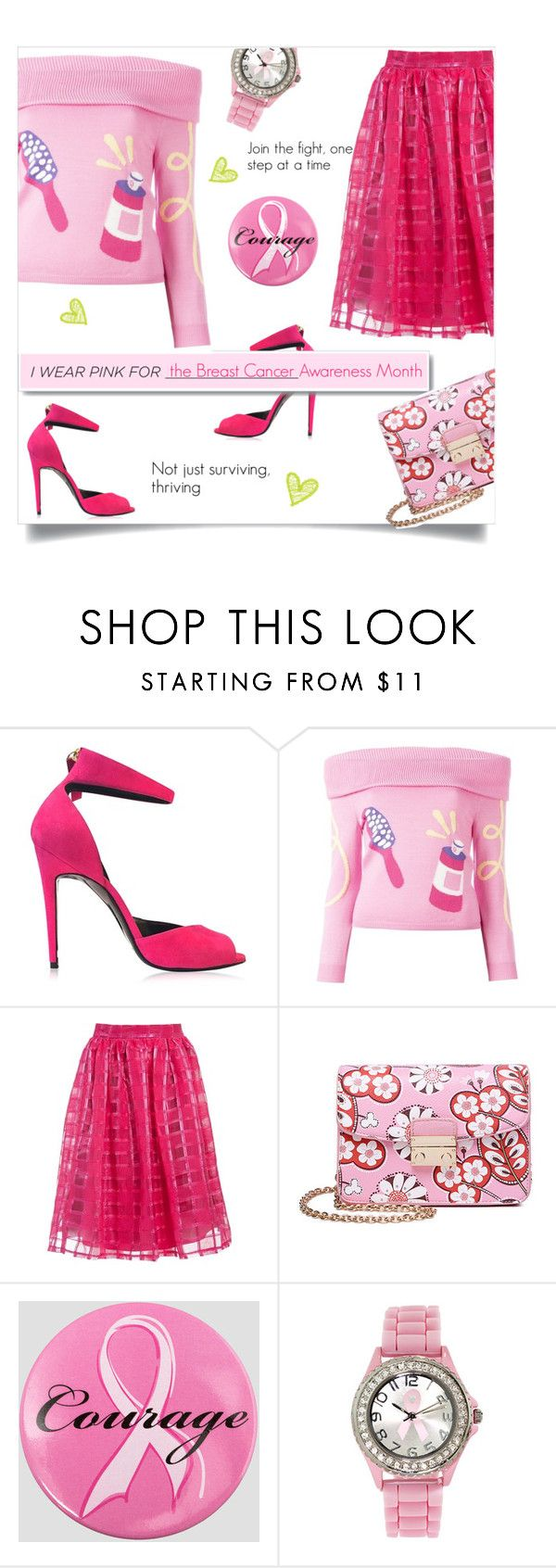 """I pink I can, I pink I will"" by linkfari ❤ liked on Polyvore featuring Pierre Hardy, White Label, Jeremy Scott, Sans Souci, Ashley Stewart and IWearPinkFor"