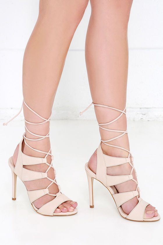 A true treasure, the Steve Madden Sandalia Blush Nubuck Leather Lace-Up Heels will always feel like a special find! Soft genuine nubuck leather (in a light nude shade) shapes a caged, peep-toe upper with a lace-up front.