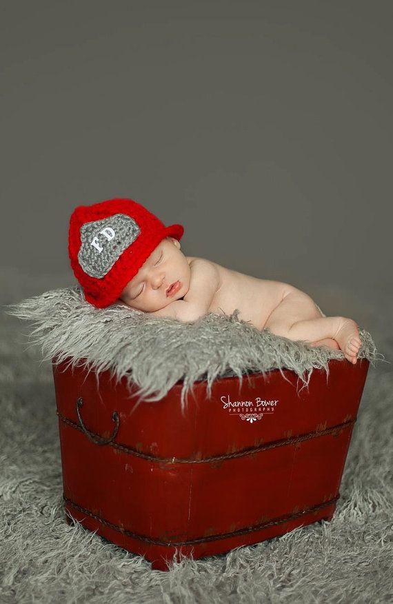 Fireman Hat Newborn  Toddler by EternallyHooked on Etsy, $25.00