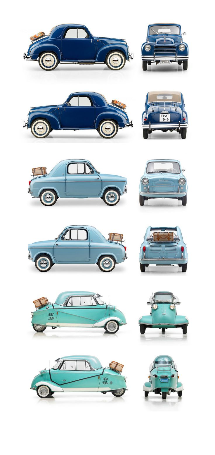 Micromobiles: 1949 Fiat 500C Topolino, 1959 Vespa 400, 1959 Messerschmitt KR200 // classic and vintage car design