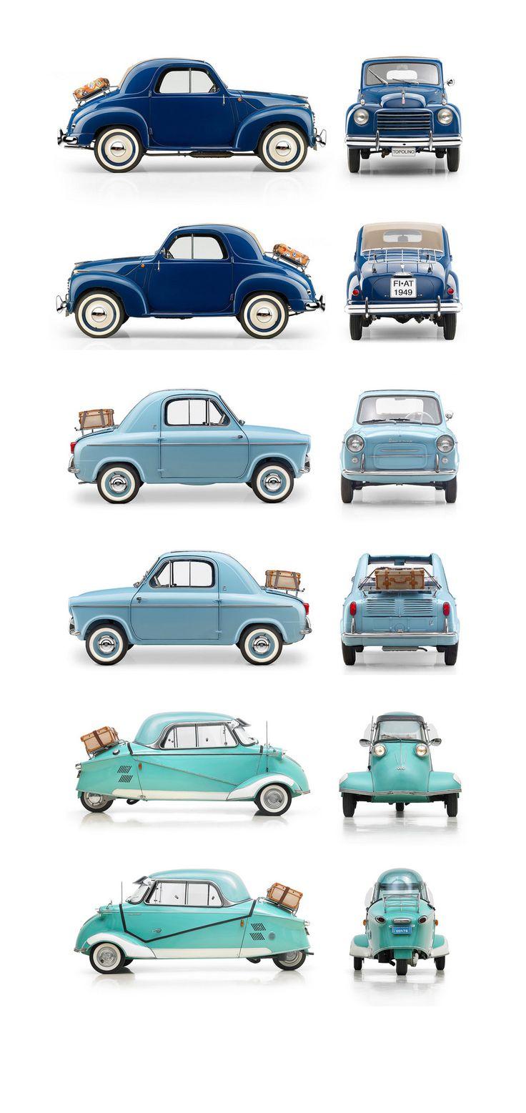 1949 Fiat 500C Topolino, 1959 Vespa 400, 1959 Messerschmitt KR200