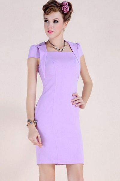 Notched Collar Square Neck Body-Con Dress OASAP.com