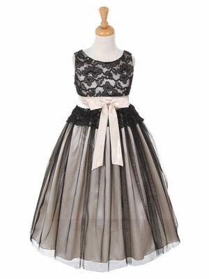 Black Lace Bodice Dress w/ Ivory Charmeuse Tulle Overlay Skirt