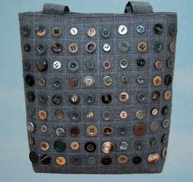Button Handbag tote grey quilting - a way to use some of those thousands of button I have collected over the years.
