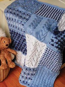 Free knitting pattern for Three Color Sampler Afghan and more stitch sampler knitting patterns