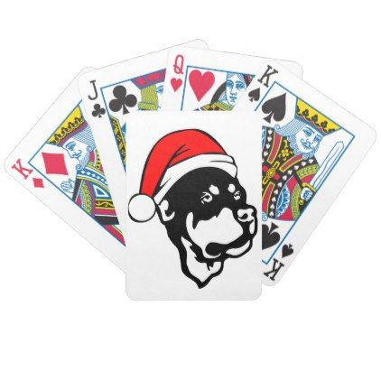#Rottweiler Dog wearing Red Christmas Santa Hat Bicycle Playing Cards - #rottweiler #puppy #rottweilers #dog #dogs #pet #pets #cute